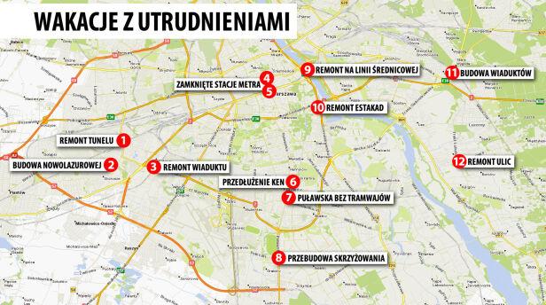 Mapa warszawskich utrudnień  targeo.pl TVN24.pl