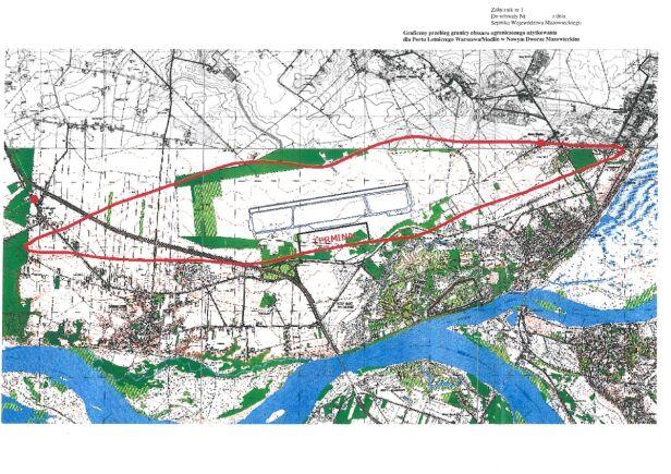 Tak wygląda obszar ograniczonego użytkowania wokół lotniska w Modlinie