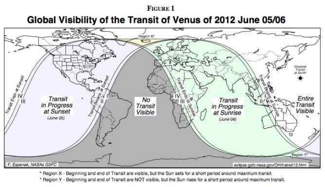 Mapa widoczności tranzytu na świecie. W Polsce widoczny będzie o poranku 6 czerwca / NASA