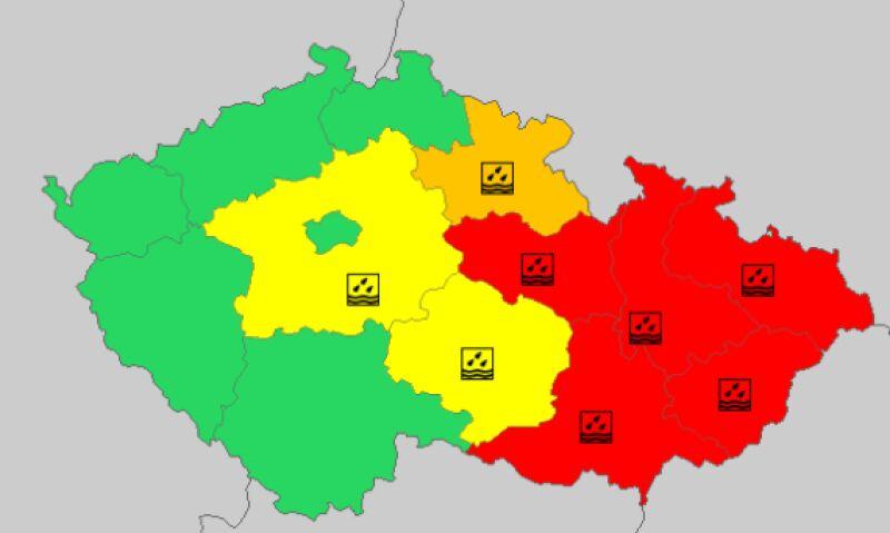 Ostrzeżenia meteorologiczne w Czechach (meteoalarm.eu)