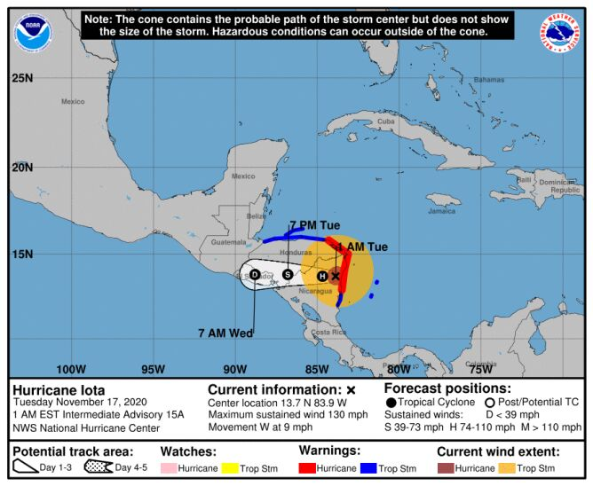Prognozowana trasa huraganu Jota (NHC)