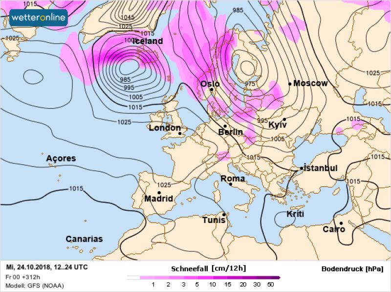 Noc z 24 na 25 października. Na różowo zaznaczono strefę opadów śniegu (wetteronline.de)