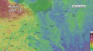 Prognozowe porywy wiatru w najbliższych godzinach (Ventusky.com)