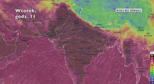 Temperatura w Indiach w poniedziałek i wtorek (Ventusky.com)